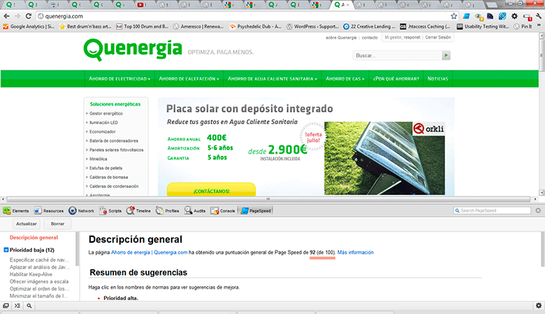 Page Speed homepage Quenergia