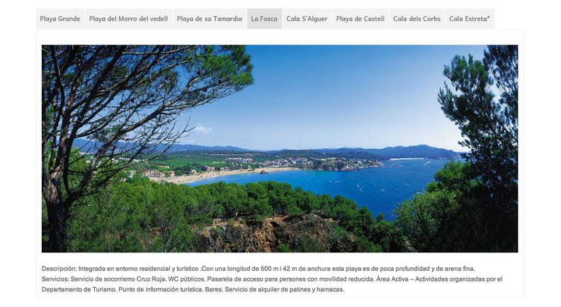 Playas de Palamós en la web